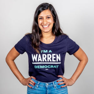 """I'm A Warren Democrat"" Fitted Navy T-Shirt with White and Liberty Green Text on smiling model."