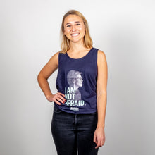 "Load image into Gallery viewer, ""I Am Not Afraid"" Unisex Navy Tank featuring an image of Elizabeth Warren on smiling model."