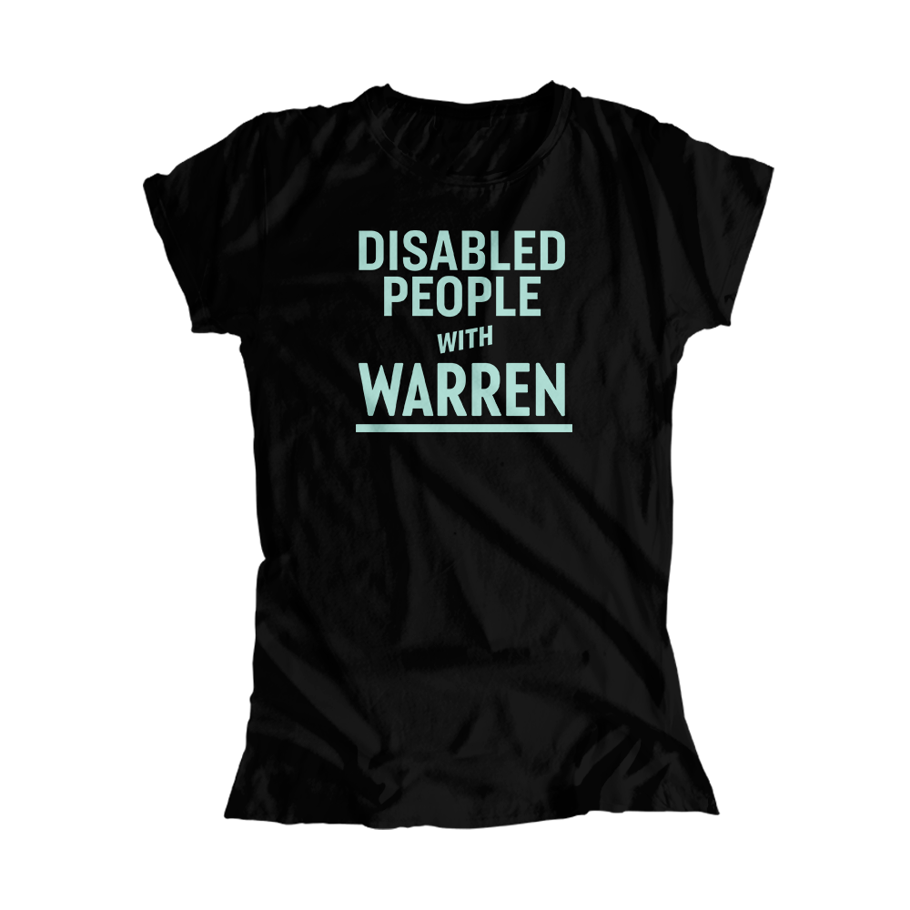 Disabled People with Warren Fitted T-Shirt with liberty green text. (4520945877101)