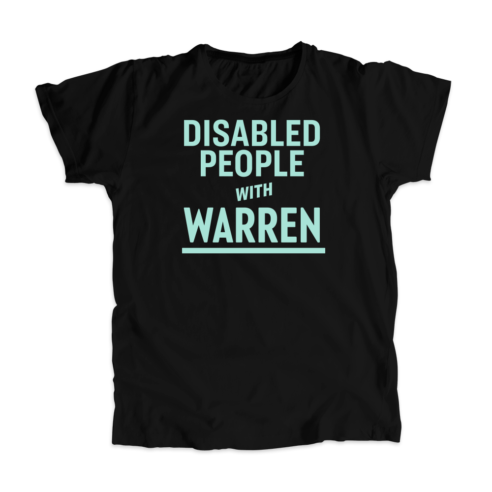 Disabled People with Warren Unisex T-Shirt with liberty green text. (4520944140397)