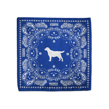 Load image into Gallery viewer, Blue bandana featuring a silhouette of Bailey encircled with a paisley print made of tennis balls, dog bones and paw prints. (1518887338093)