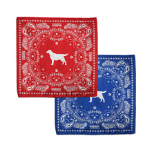Load image into Gallery viewer, Red and Blue bandanas featuring an outline of Bailey encircled with a paisley print made of tennis balls, dog bones and paw prints. (1518887338093)