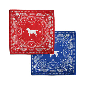 Red and Blue bandanas featuring an outline of Bailey encircled with a paisley print made of tennis balls, dog bones and paw prints. (1518887338093)
