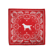 Load image into Gallery viewer, Red bandana featuring a silhouette of Bailey encircled with a paisley print made of tennis balls, dog bones and paw prints. (1518887338093)