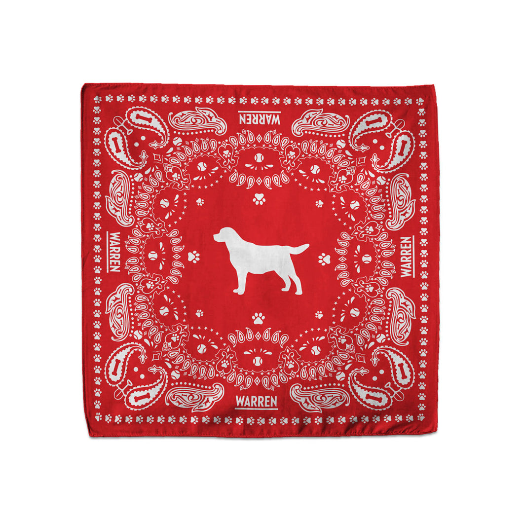 Red bandana featuring a silhouette of Bailey encircled with a paisley print made of tennis balls, dog bones and paw prints. (1518887338093)