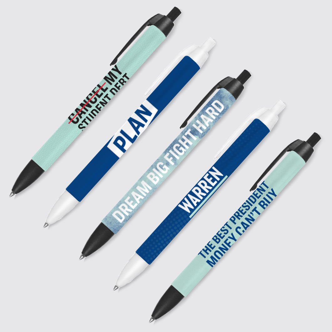 5 pack of navy blue and liberty green with various printed phrases