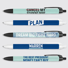 "5 pack of navy blue and liberty green with various printed phrases ""Cancel My Student Loans"" and ""Warren""."