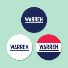 "Load image into Gallery viewer, Three 2.5"" round magnets featuring the Warren logo on Navy, White, and Red, White and Navy."