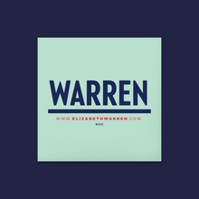 Load image into Gallery viewer, Square liberty green and navy magnet featuring the Warren logo. (4348364750957)
