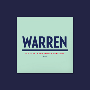Square liberty green and navy magnet featuring the Warren logo.