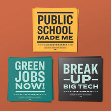 Load image into Gallery viewer, Three Sticker Pack feature three unique designs: Public School Made Me, Green Jobs Now,  and Break Up Big Tech.  (4369662378093)