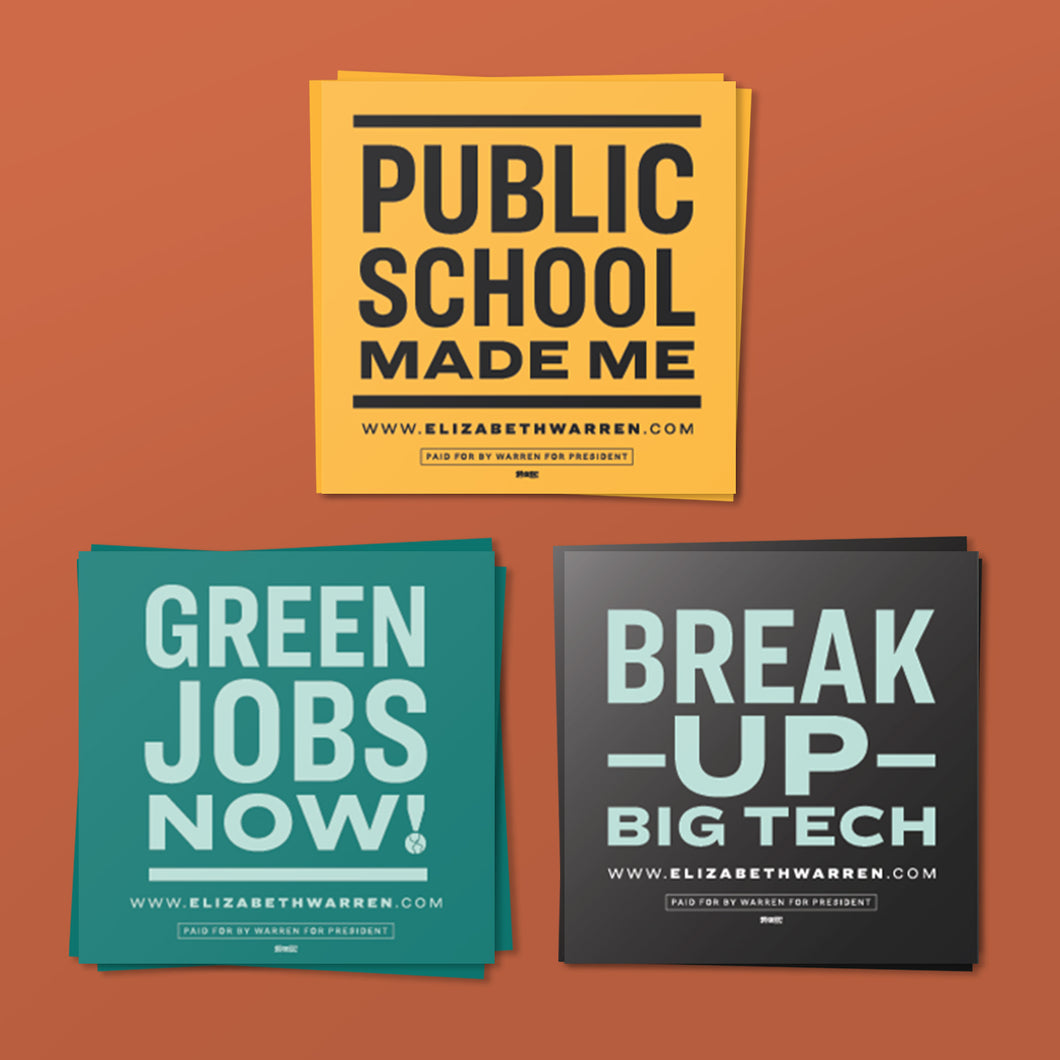Three Sticker Pack feature three unique designs: Public School Made Me, Green Jobs Now,  and Break Up Big Tech.  (4369662378093)