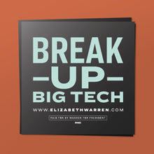Load image into Gallery viewer, Break Up Big Tech Sticker in black and liberty green. (4369662378093)