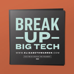 Break Up Big Tech Sticker in black and liberty green.