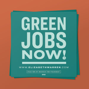 Green Jobs Now! Sticker in green and liberty green.