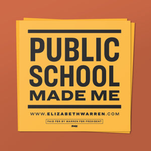 Public Schools Made Me Sticker in black and yellow.