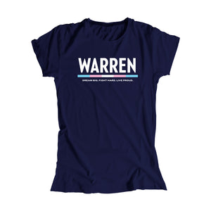 "Navy fitted t-shirt with the WARREN logo, WARREN is in white and the line beneath it is the colors of the transgender pride flag. Beneath the logo is a line of text that says ""dream big. fight hard. live proud"". (1666066055277)"