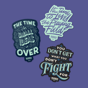 Three die-cut magnets featuring different quotes from Elizabeth Warren.