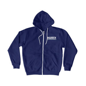 Front view of navy hoodie zipped up with Warren logo.