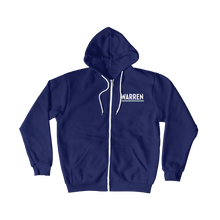 Load image into Gallery viewer, Front view of navy hoodie zipped up with Warren logo. (1506799779949)