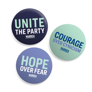 "Three 1.25"" buttons with the following phrases: ""Unite the party"" on a navy background, ""Courage over cynicism"" on a liberty green background, and ""Hope over fear"" on a light purple background. (4514724053101)"