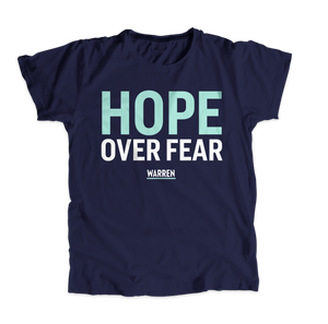 Hope Over Fear Navy Unisex T-Shirt with text in liberty green and white. (4514734669933)
