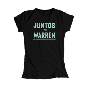 Juntos Con Warren Black Fitted T-Shirt with Liberty Green type. (4455164182637)