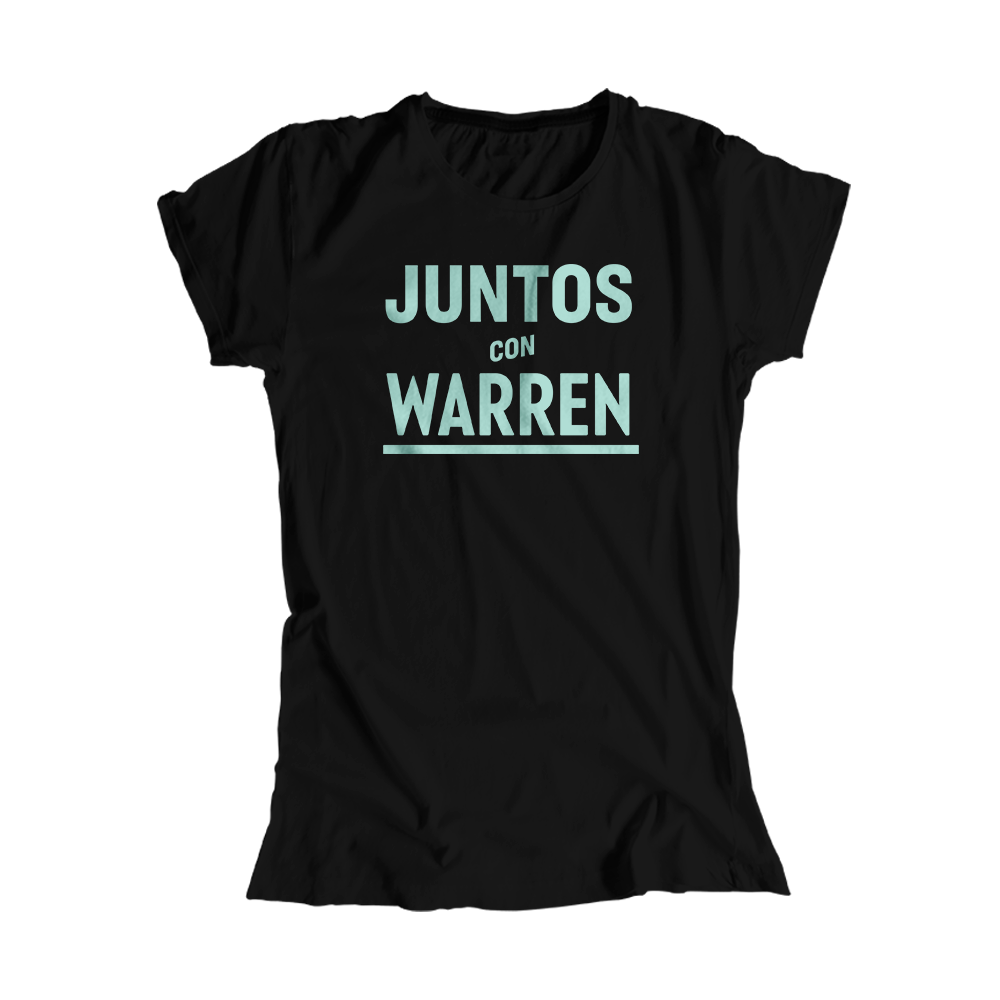 Juntos Con Warren Black Fitted T-Shirt with Liberty Green type.