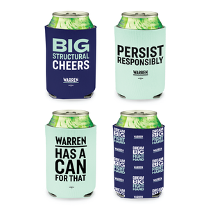 Four navy and liberty green koozies printed with the phrases: Big Structural Cheers, Warren has a can for that, Persist Responsibly.