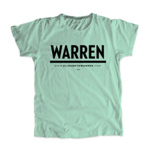 "Load image into Gallery viewer, Liberty green unisex t-shirt with a black ""Warren"" logo."