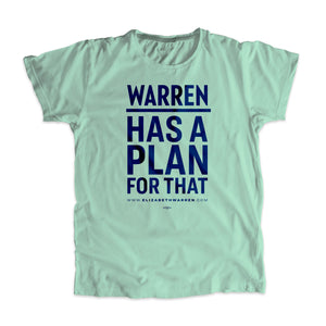 "Liberty green unisex t-shirt with ""Warren Has A Plan For That"" in navy."