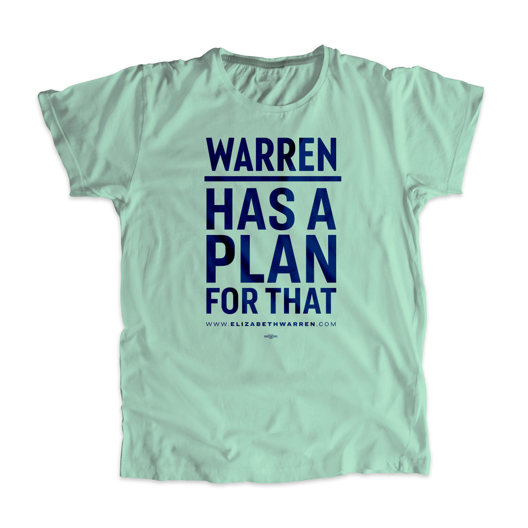 Liberty green unisex t-shirt with the phrase, Warren Has A Plan For That, in navy.