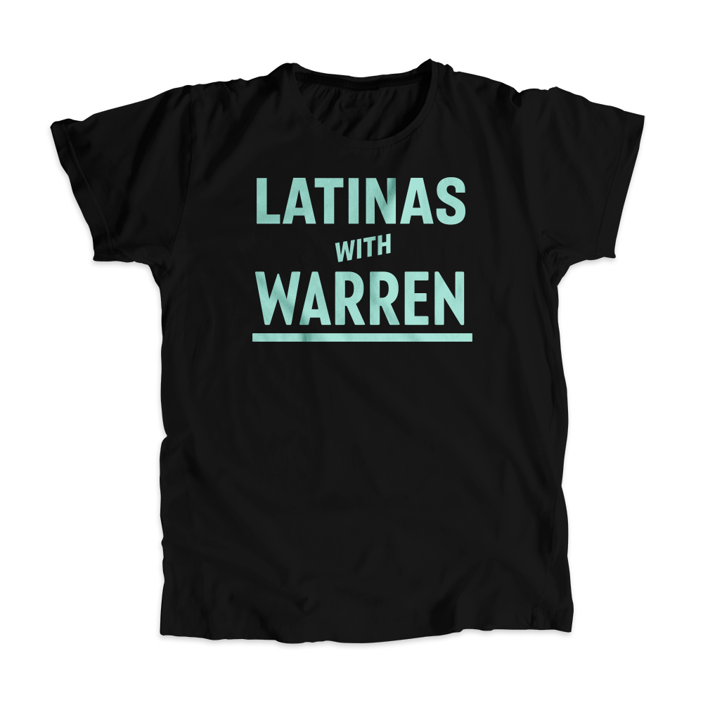 Latinas with Warren Black Unisex T-shirt with Liberty Green type. (4455135936621)
