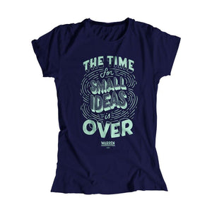"A navy fitted t-shirt with ""The Time For Small Ideas Is Over"" in liberty green."