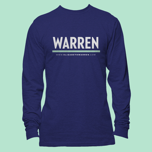 Warren Logo on a long sleeve navy unisex t-shirt.  (4407042769005)