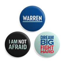 "Load image into Gallery viewer, Braille Button 3-Pack. Three buttons with the phrases: Warren, I Am Not Afraid, Dream Big Fight Hard with Braille overlay on each button. Buttons are 2.5"" in diameter."