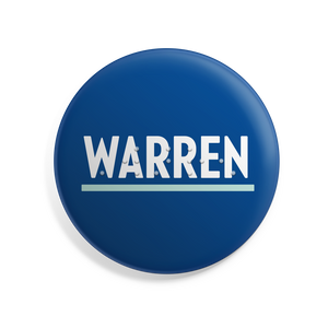 "Warren 2.5"" Button with Braille overlay in Navy with Warren in type in white and liberty green."