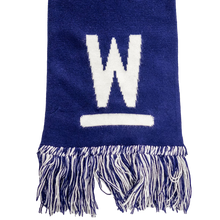 Load image into Gallery viewer, Navy Warren Scarf with white Warren W Logo and navy and white fringe.