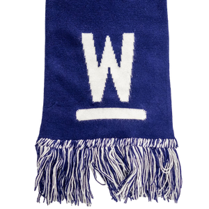 Navy Warren Scarf with white Warren W Logo and navy and white fringe.