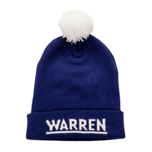 Load image into Gallery viewer, Navy Knit Hat with white pompom and the Warren logo on the cuff of the hat.