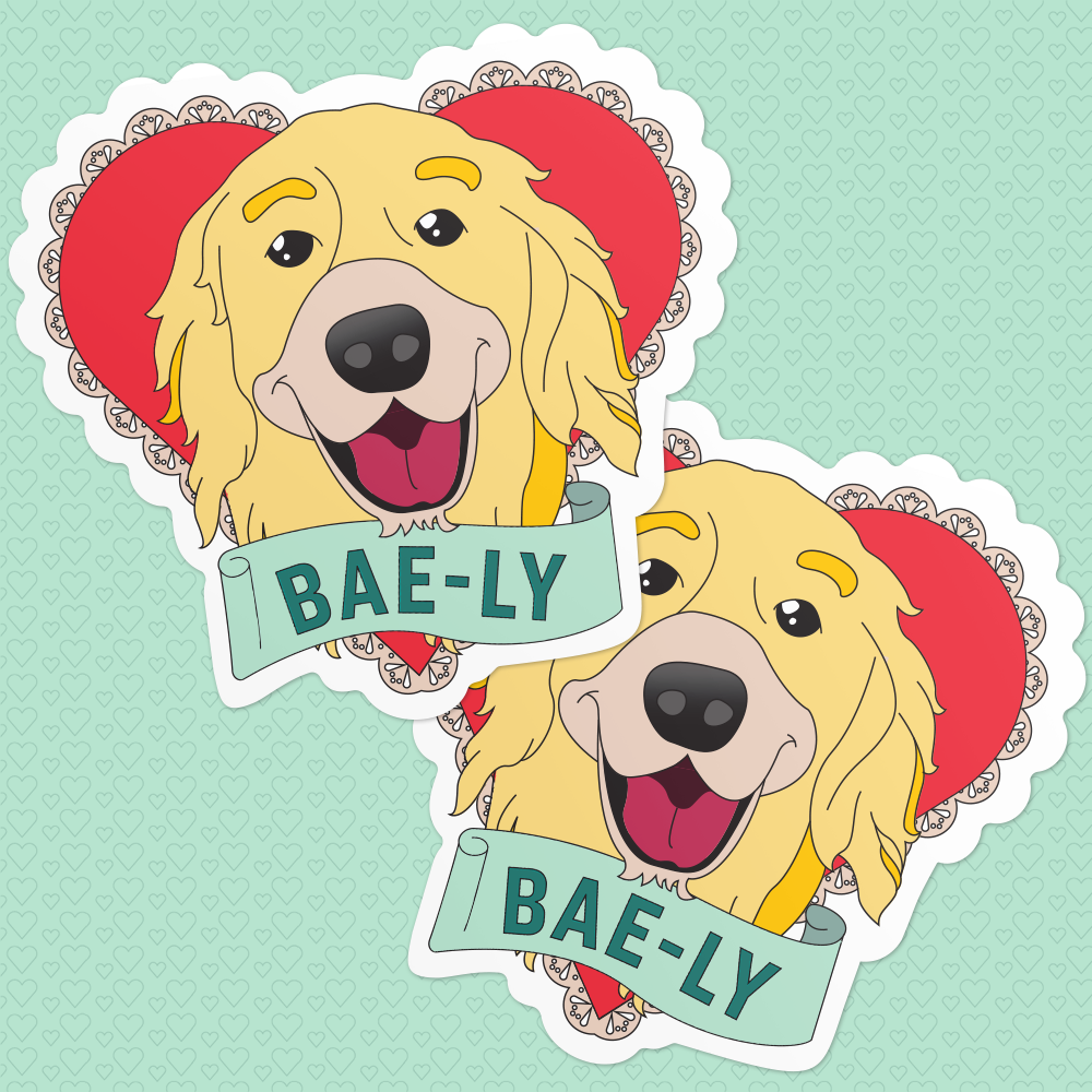 Valentine Heart Stickers featuring Bailey the dog with a banner that reads: Bae-ly. (4487358480493)