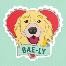 Load image into Gallery viewer, Valentine Heart Stickers featuring Bailey the dog with a banner that reads: Bae-ly. (4487358480493)