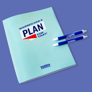 "Liberty green weekly planner, cover featuring the words ""Warren Has a Plan For That!"""