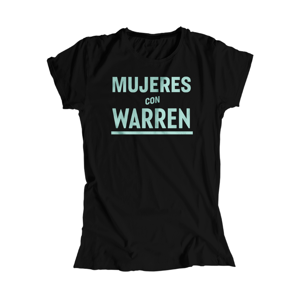 Mujeres with Warren Black Fitted T-Shirt with liberty green text. (4516818813037)