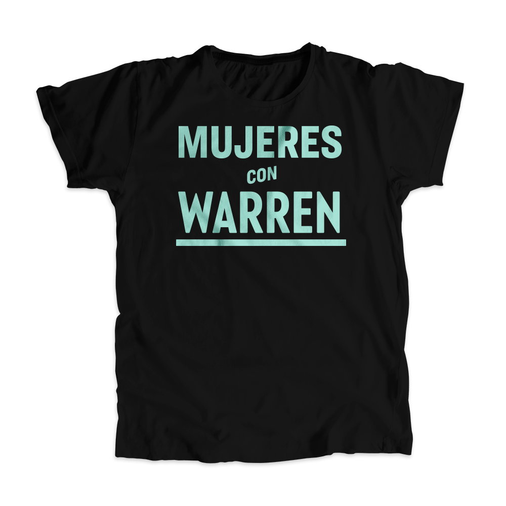 Mujeres with Warren Black Unisex T-Shirt with liberty green text. (4516276043885)