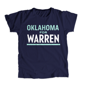 Oklahoma For Warren Navy Unisex T-shirt with white and liberty green text. (4510079975533)