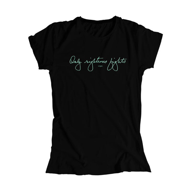 Black fitted shirt with the phrase