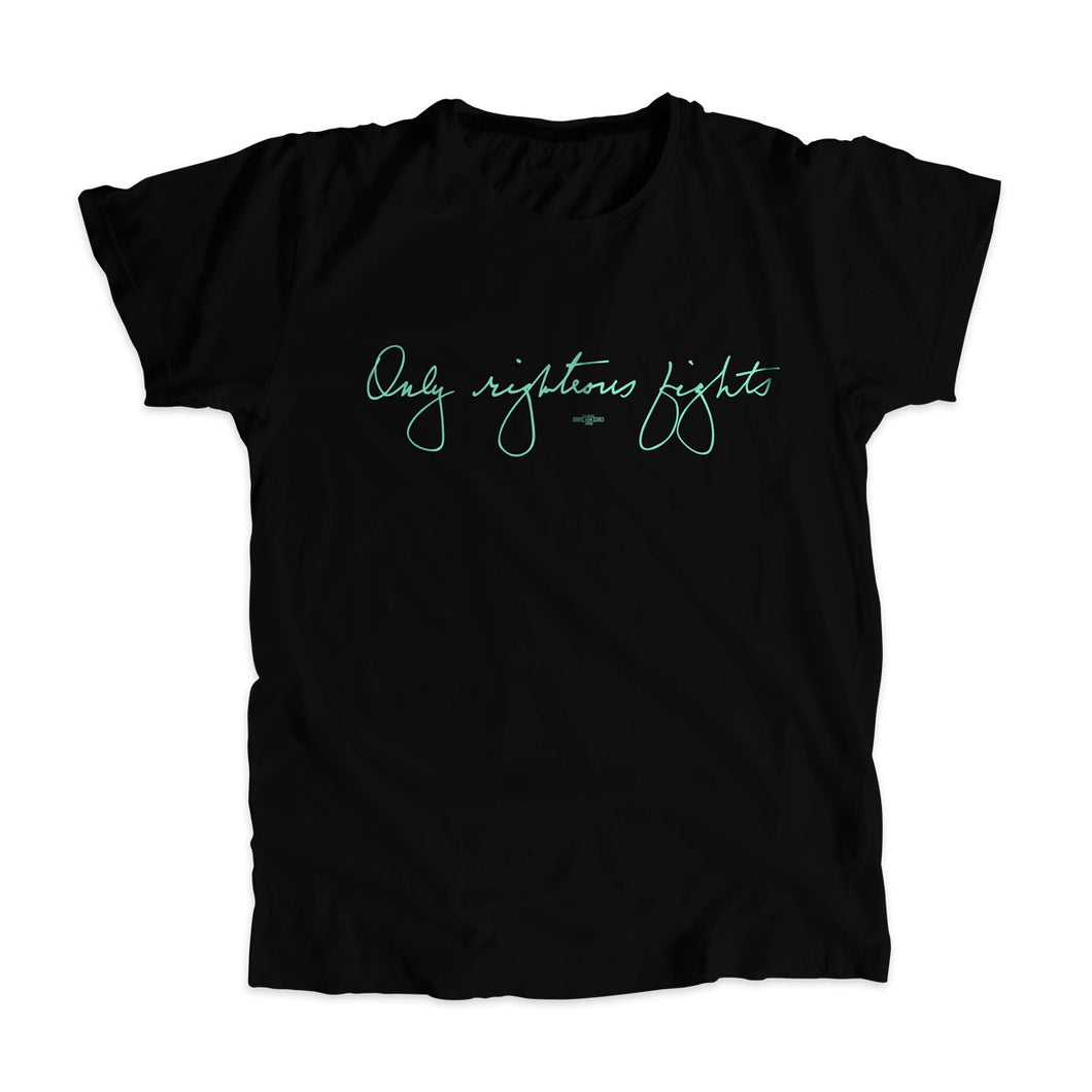 Black unisex t-shirt with the phrase