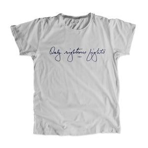 "Platinum gray unisex t-shirt with the phrase ""only righteous fights"" in navy in Elizabeth Warren's handwriting (6085868060861)"