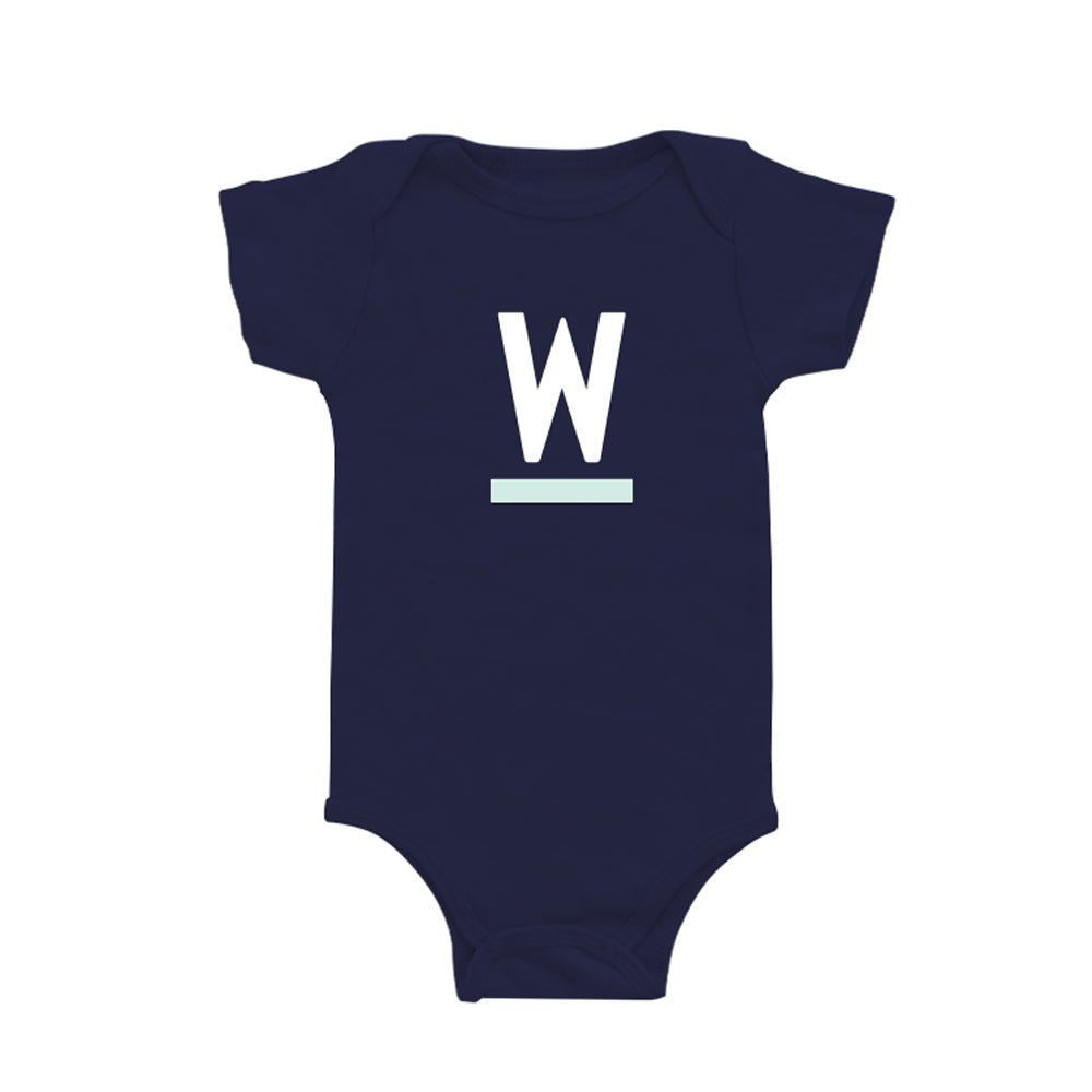 Navy onesie with white and liberty green Warren